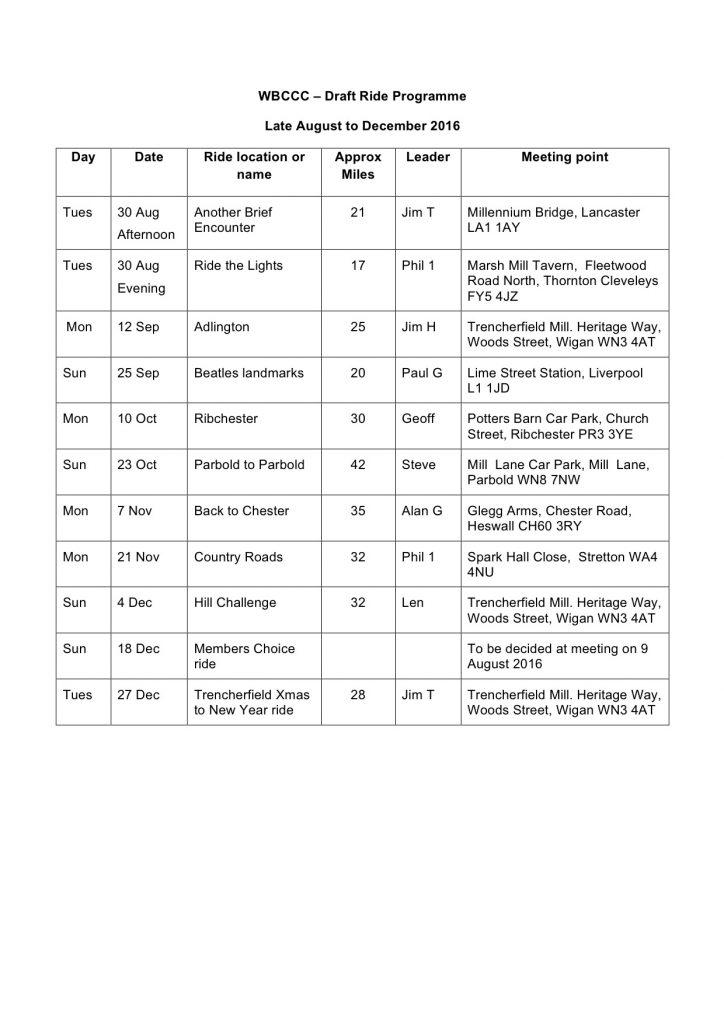 Ride programme Sep - Dec 2016